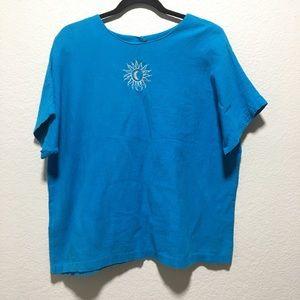 VTG Saint Germain Blue Moon Sun Embroidered Shirt